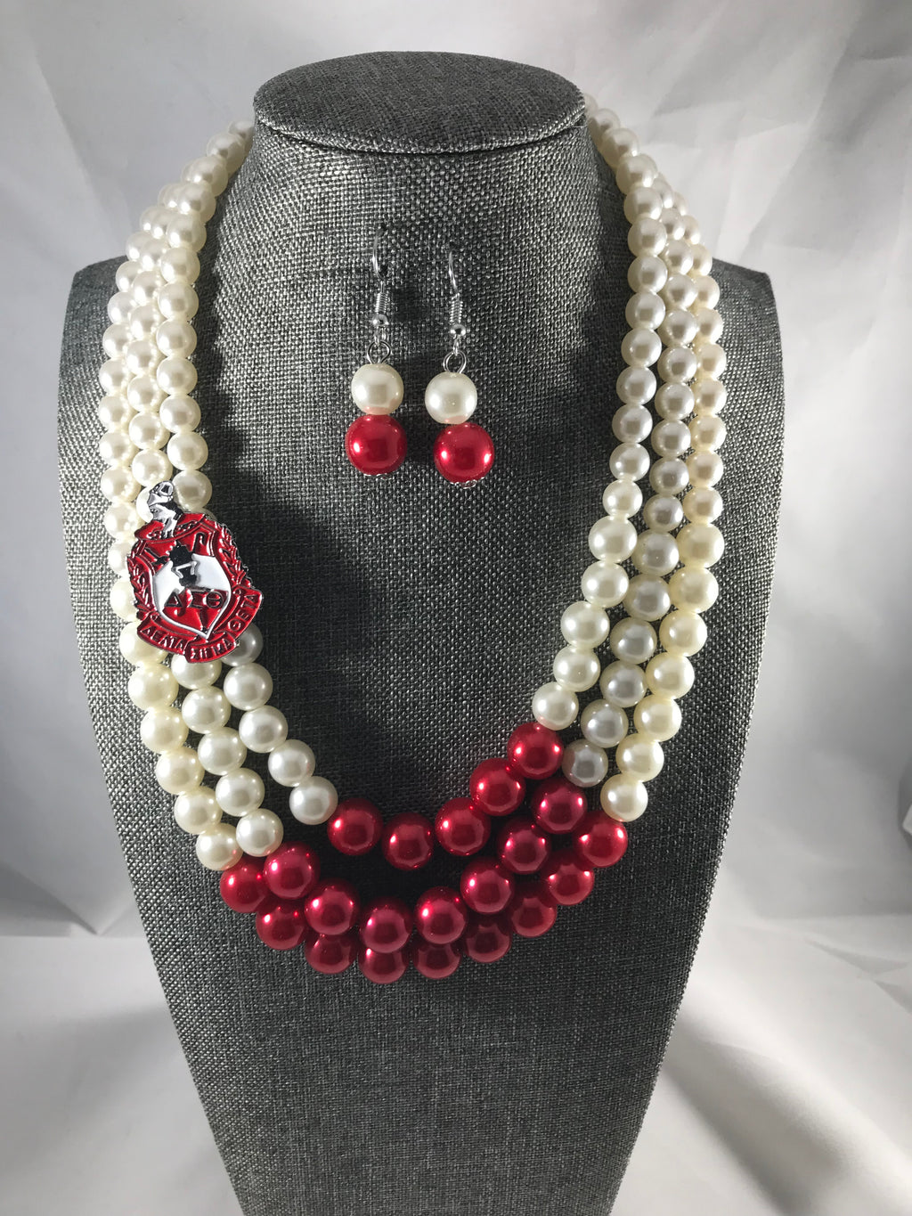 Delta Sigma Theta Pearl Necklace and Earring Set