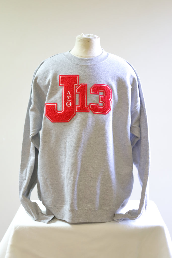 Delta Sigma Theta J-13 Sweatshirt with Chenille Patch(Gray)