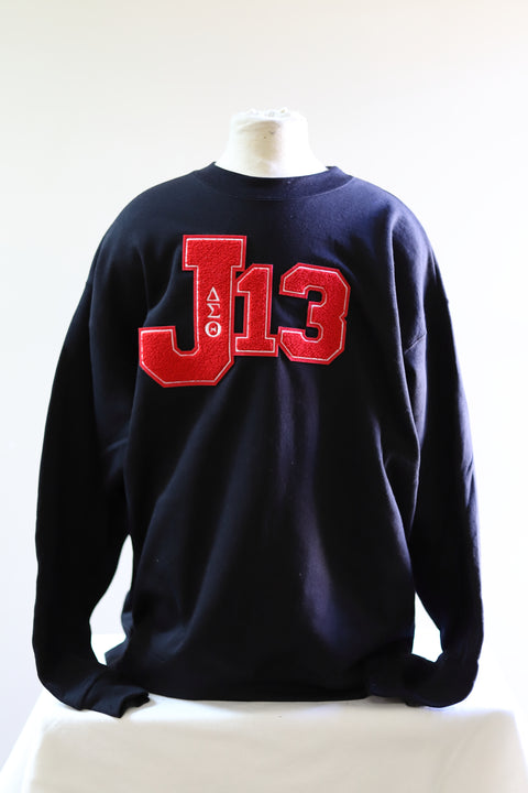 Delta Sigma Theta J-13 Sweatshirt with Chenille Patch(Black)