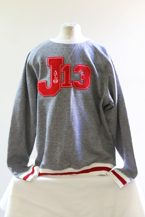 Delta Sigma Theta J-13 Classic Gray Sweatshirt with Red/White stripes and Chenille Patch