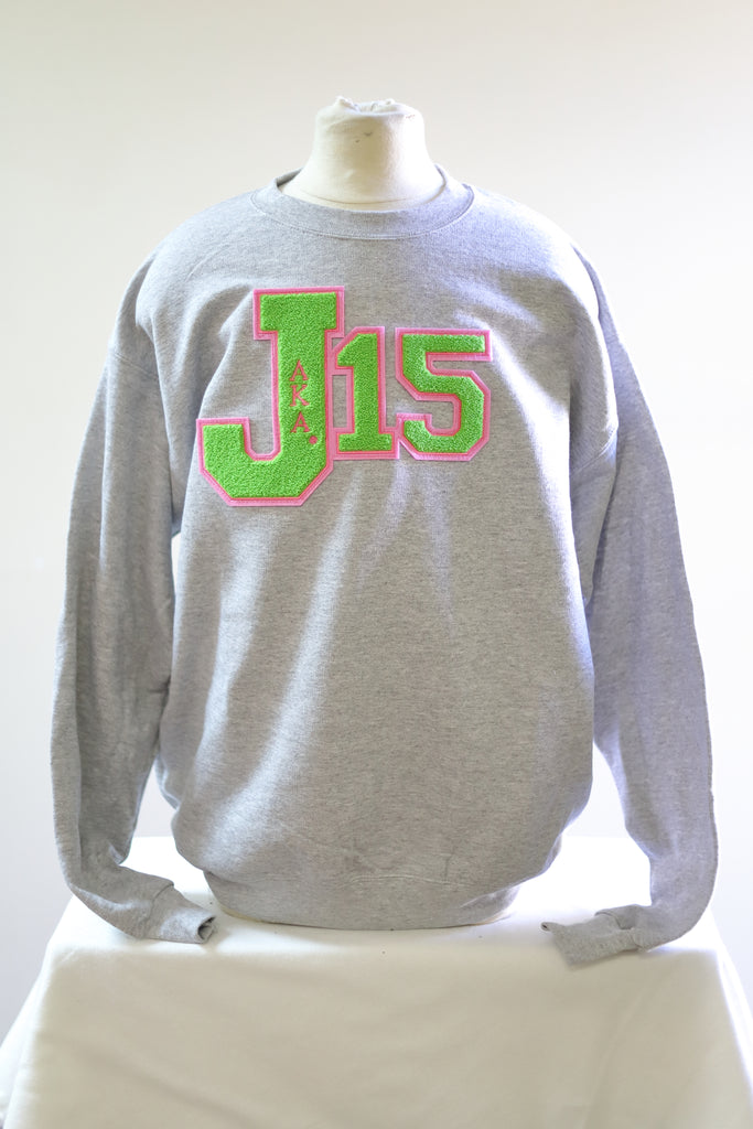 AKA J-15 Sweatshirts with Chenille Patch(Gray)