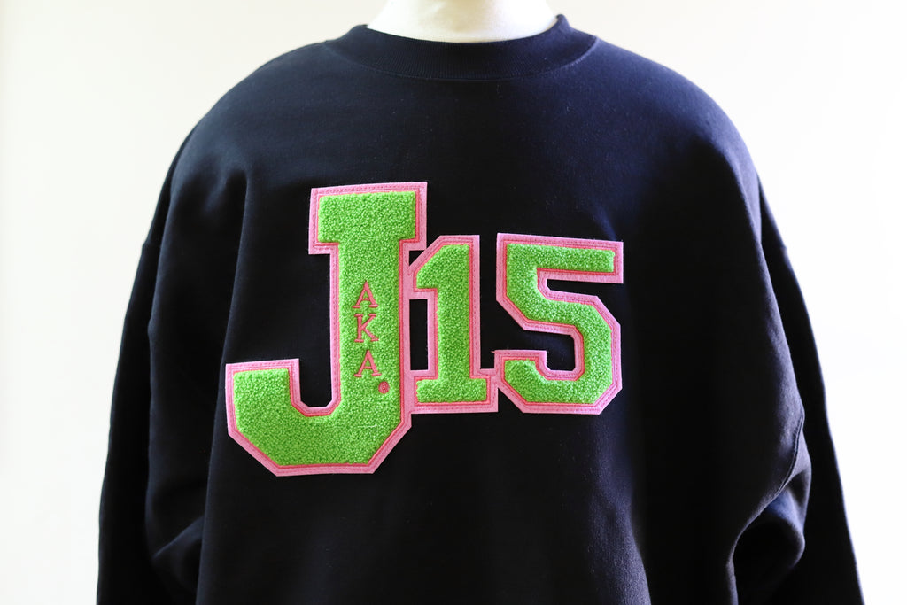 AKA J-15 Sweatshirts with Chenille Patch(Black)
