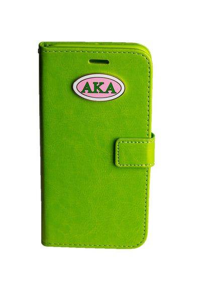 AKA Green IPhone 6 and 6Plus Leather Phone Case (Wallet Style)