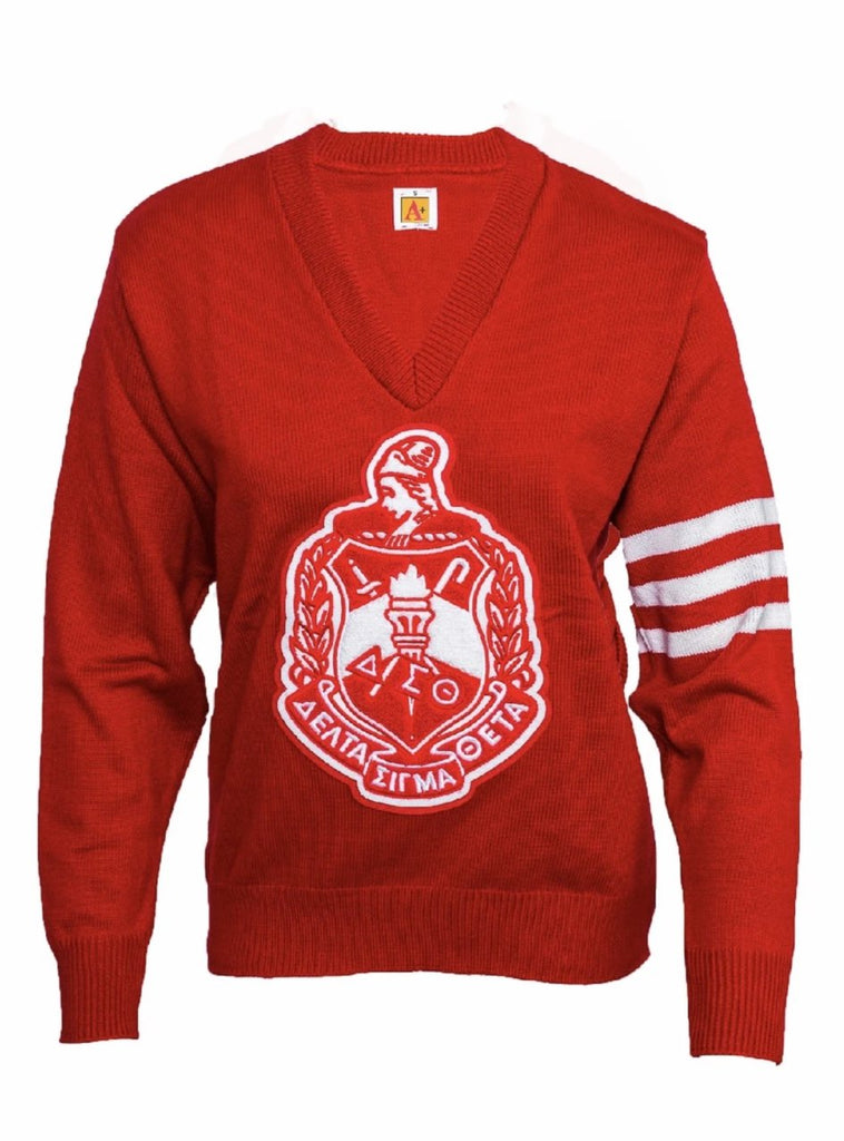 Delta Sigma Theta Old School Red/White Sweater