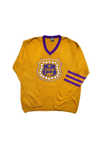 Omega Psi Phi Custom Gold V-Neck Sweater