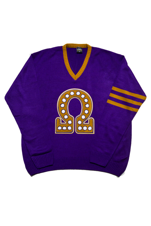 Omega Purple V-neck Sweater with Omega Chenille Symbol