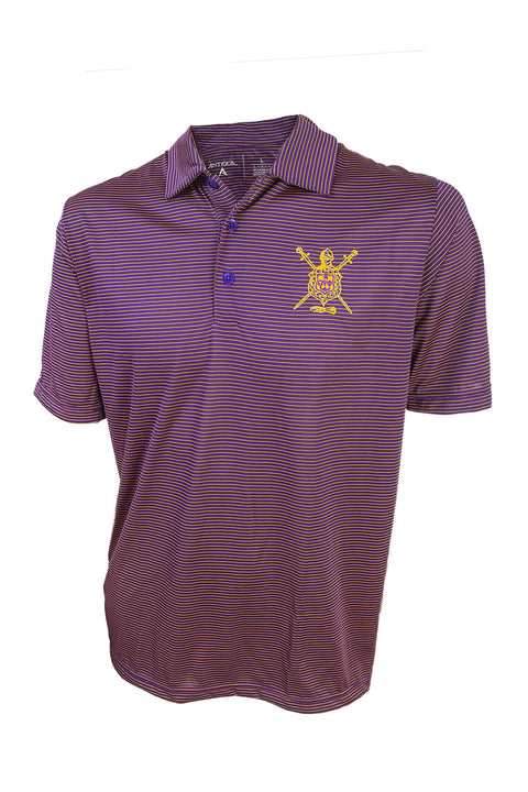 Omega Purple and Gold Stripe Polo