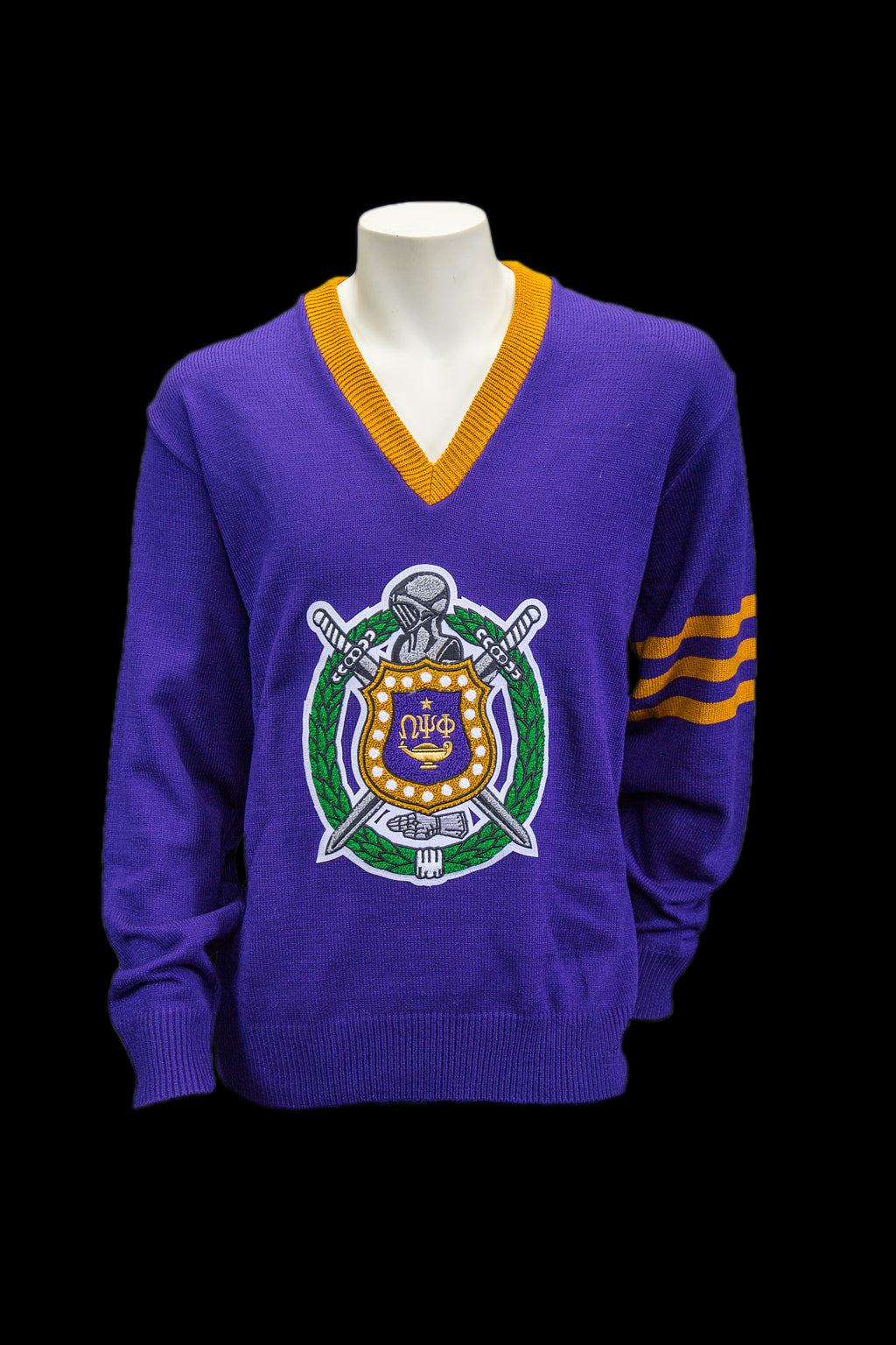 Omega Purple V-neck Sweater with Chenille Crest