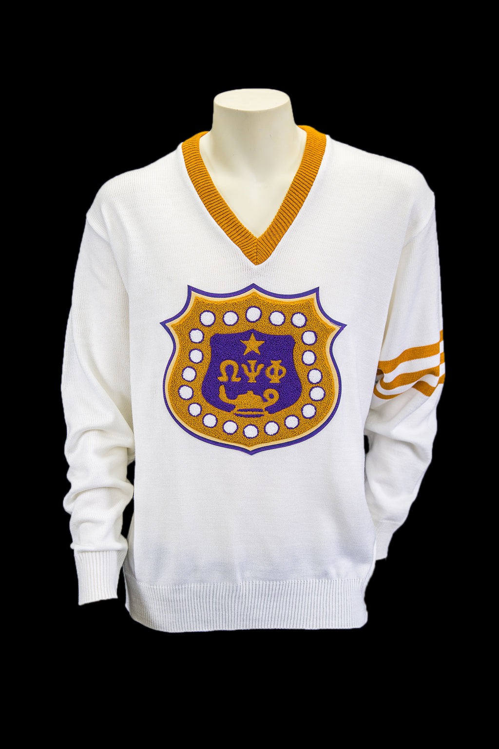 Omega White Vneck sweater with chenille shield patch