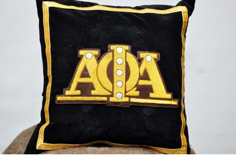 Alpha Phi Alpha-Big Letters Hand Embroidered Pillow
