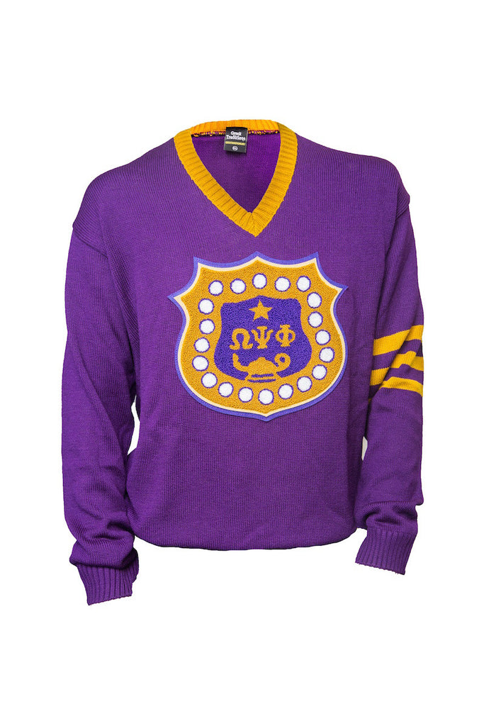 Omega Psi Phi Purple V Neck Sweater With Shield Greek Traditions