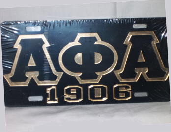 Alpha Phi Alpha-1906 Black License Plate
