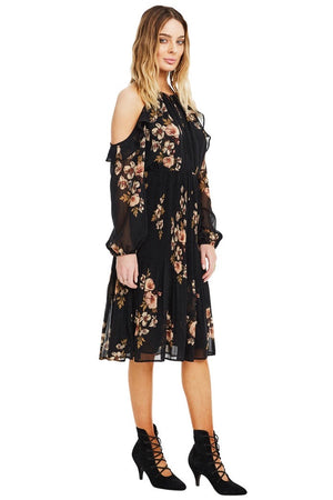 astr persephone black floral dress