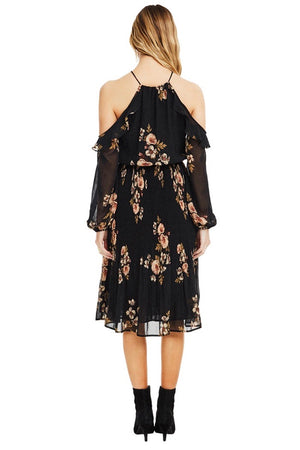 astr the label persephone black floral dress