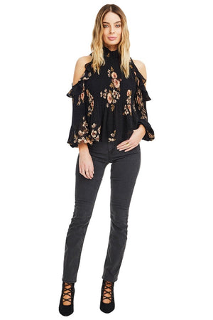 astr the label ruffled cold shoulder floral top