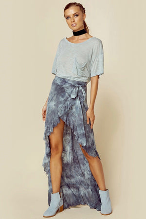 blue life tie dye wrap skirt high slit tie detail at waist