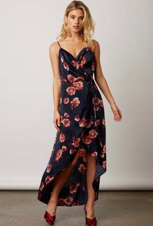 Heidi Silk Floral Dress - Navy