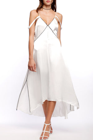 line and dot dita dress white satin black piping midi dress