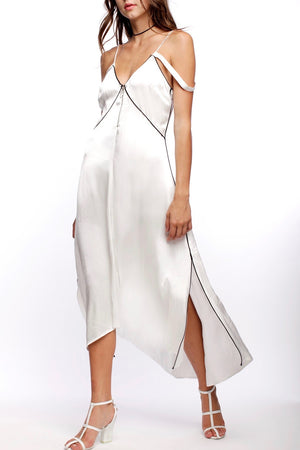 line and dot dita dress white satin