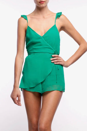 line-and-dot-front-wrap-side-tie-green-romper-flutter-sleeves