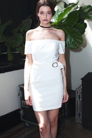 line-and-dot-off-the-shoulder-belted-white-fitted-dress