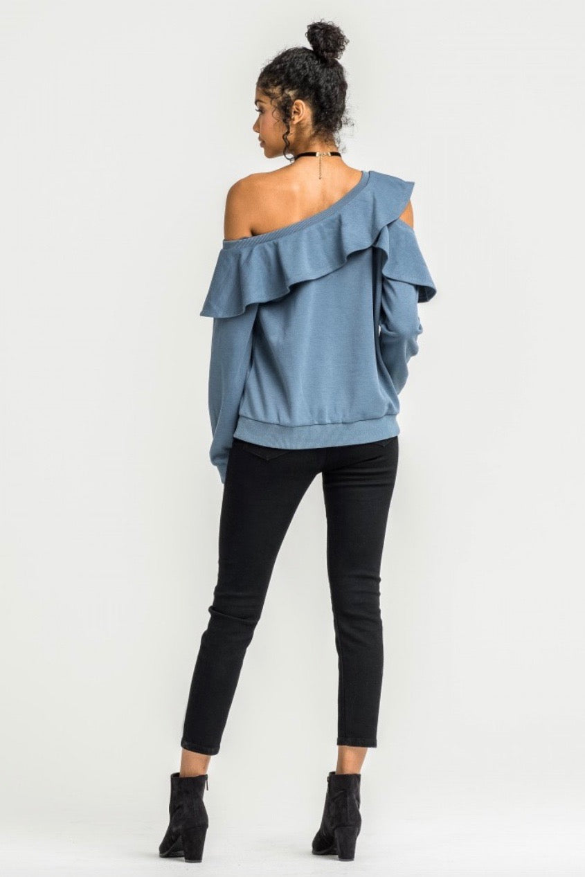 lush clothing ruffle neckline one shoulder sweater