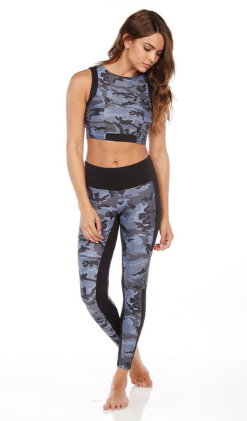 CLEO CROP TOP - DENIM CAMO