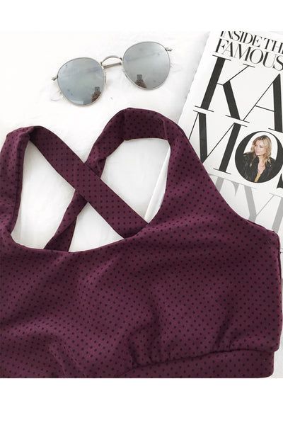 The Kinzie Bra in Eggplant Dots