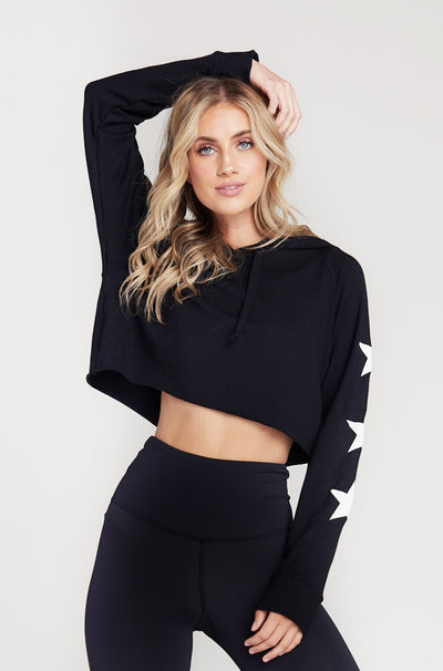 CROP HOODIE - BLACK/WHITE STAR