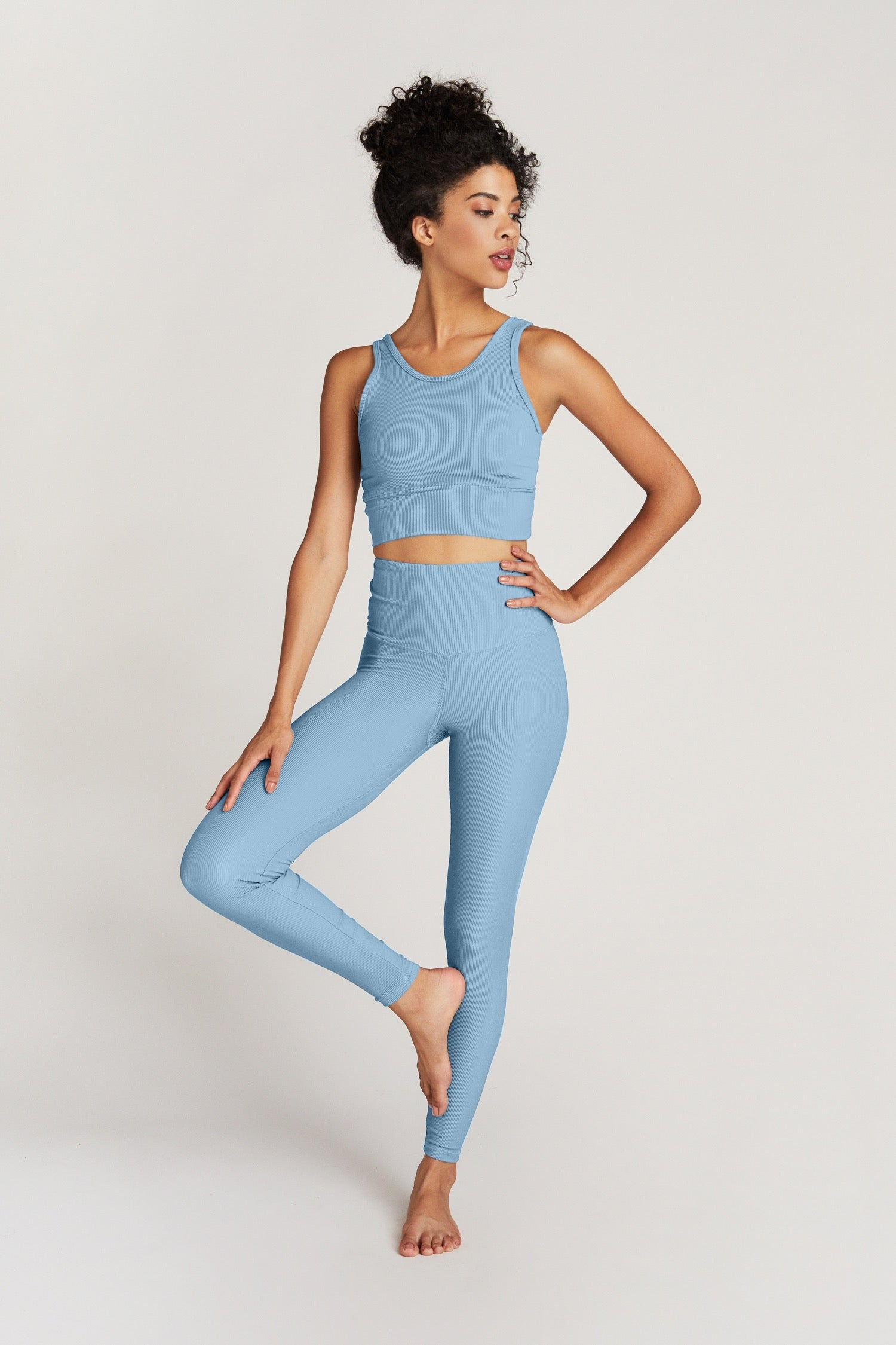 KENDALL ANKLE- BABY BLUE RIB