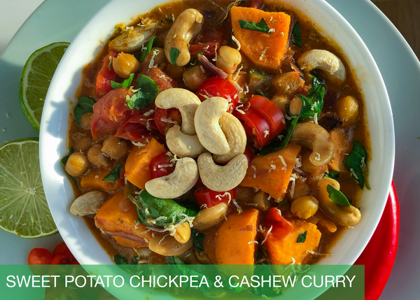Sweet Potato Chickpea & Cashew Curry