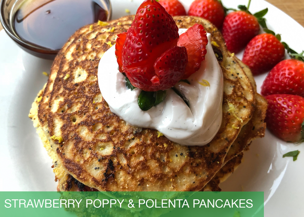 Strawberry, Poppyseed & Polenta Pancakes