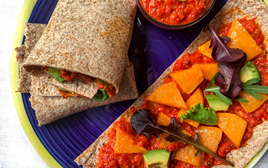 Vegan Lunch Ideas Butternut Squash Wrap with Harissa Sauce