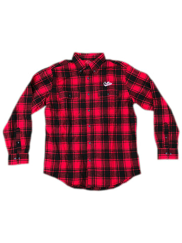 Embroidered Script Flannel in Red/Black