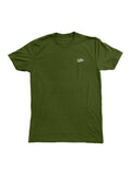Embroidered Script Tee in Olive