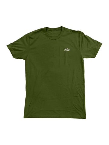 Embroidered Script in Olive