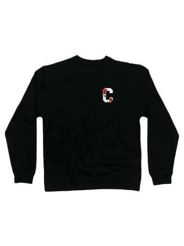 Floral C Crewneck in Black