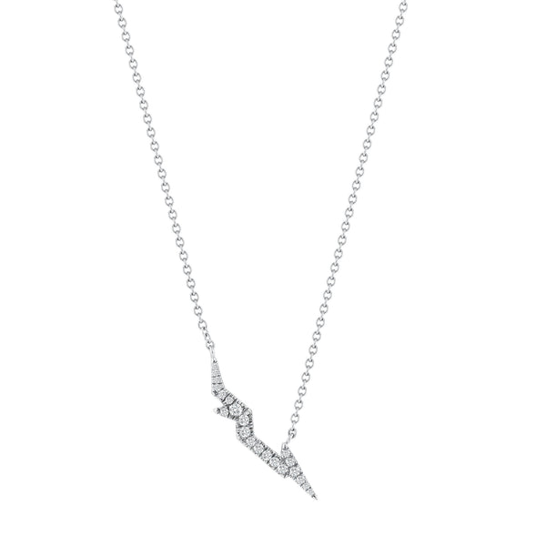 Pave Lightning Bolt Necklace - Finn