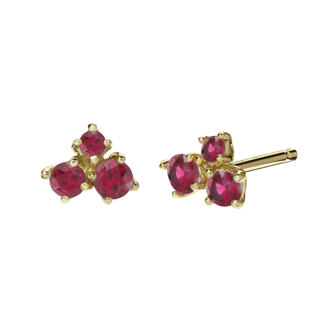 small red ruby cluster stud earrings in 18k yellow gold by finn by candice pool neistat