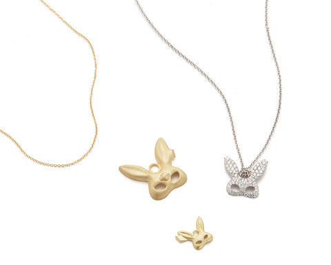18k gold rabbit bunny costume mask pendant with diamond eyes on wrapped chain by finn by candice pool neistat