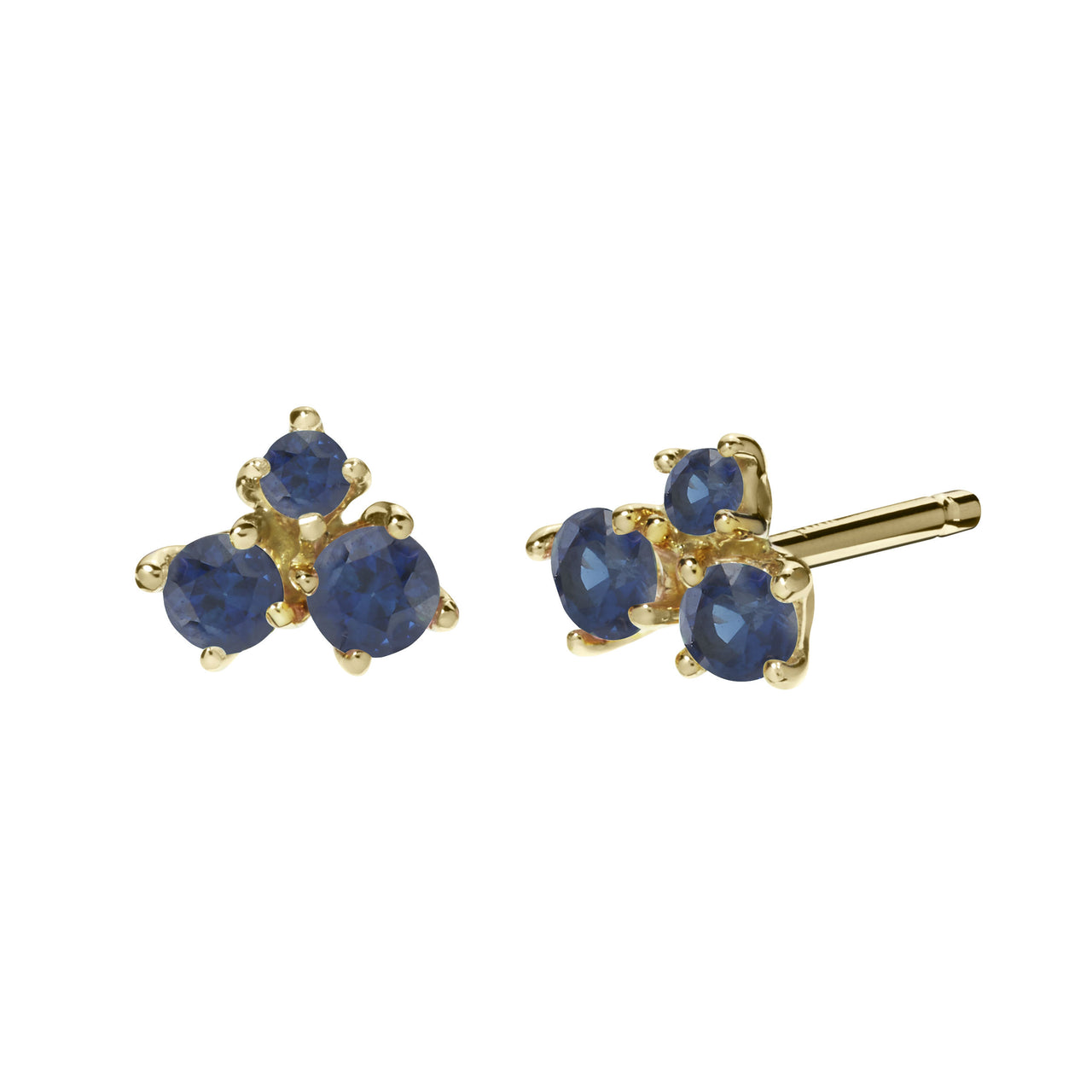 classic solitaire stud earrings with blue sapphires in 18k yellow gold by finn by candice pool neistat
