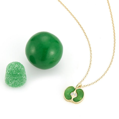 18k gold and hand cut jade with diamond apple necklace by finn by candice pool neistat
