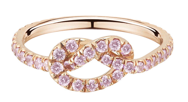 Large Bubble Gum Pink Sapphire Love Knot Ring - Finn