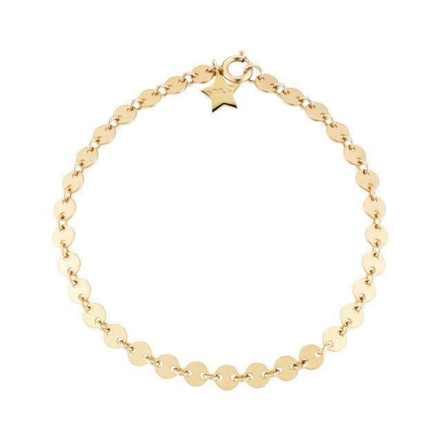 Gold Filled Sequin Chain Bracelet