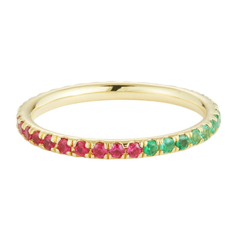 Eternity Band in Ruby, Emerald and Yellow Sapphire