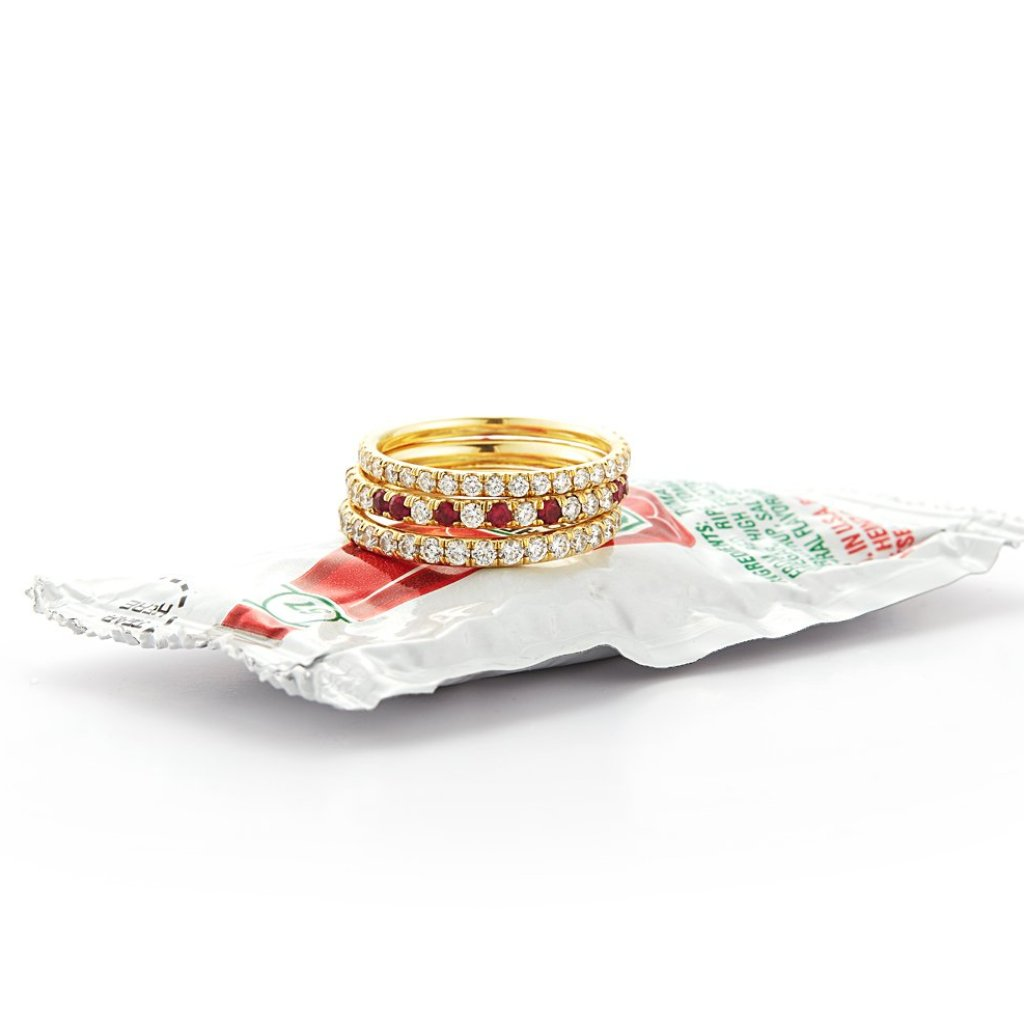 Ruby Speckled Diamond Eternity Band