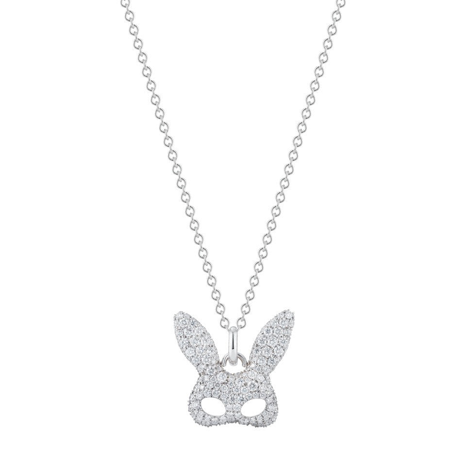 everyday pave diamond encrusted 18k white gold rabbit costume mask necklace by finn by candice pool neistat