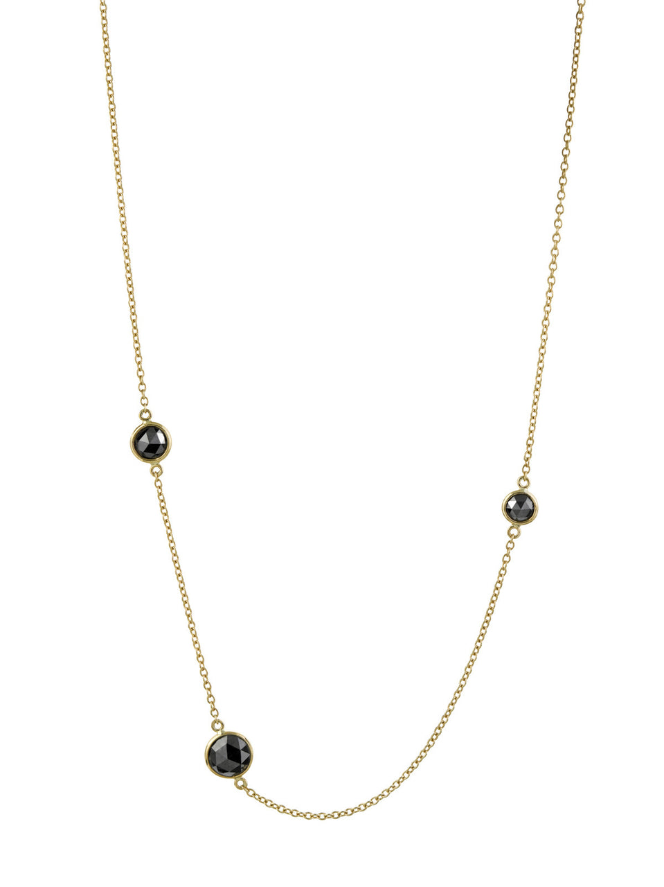 Three Stone Black Rose Cut Necklace