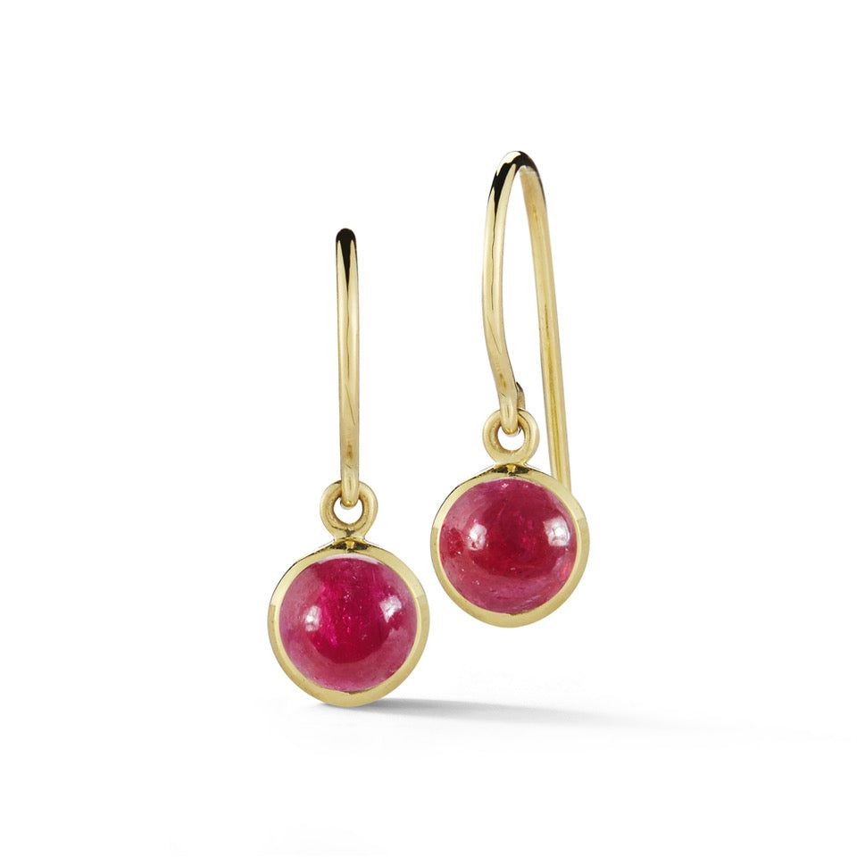 simple lightweight everyday red ruby dangle earrings in 18k yellow gold by finn by candice pool neistat
