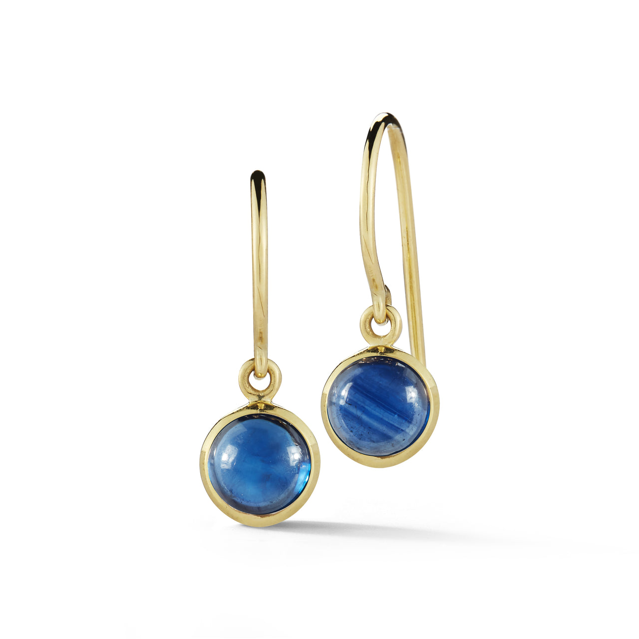 everyday lightweight sapphire cabochon dangle earrings in 18k yellow gold by finn by candice pool neistat
